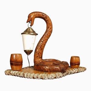 Lámpara Art Déco en forma de serpiente tallada a mano con cenicero
