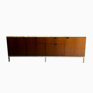Walnut Sideboard with Marble Top by Florence Knoll Bassett for Knoll Inc, 1970s