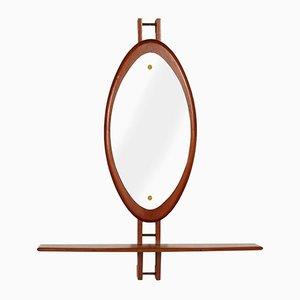 Consolle Mid-Century in teak con specchio di Clausen & Son, anni '60