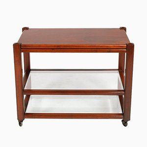 Mid-Century Modern Mahogany Bar Cart by Gianfranco Frattini for Saporiti, 1960s