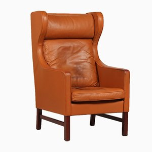 Danish High-Back Chair with Cognac Leather from Skippers Møbler, 1980s