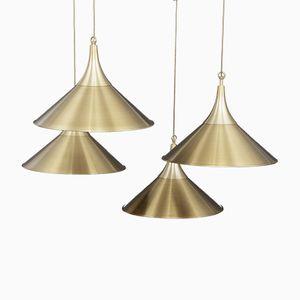 Lampes à Suspension Scandinaves en Laiton, 1970s, Set de 4