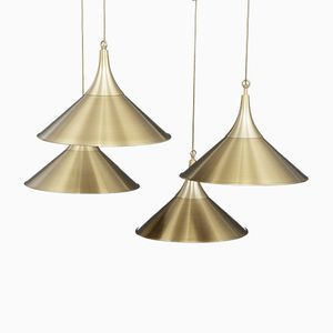 Scandinavian Brass Pendant Lamps, 1970s, Set of 4