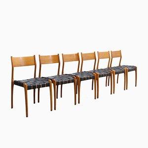 Vintage Modell 993 Leder Esszimmerstühle von Studio Tipi für Montina, 6er Set