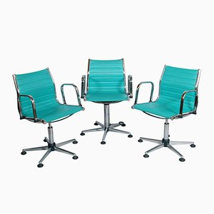 Chromed Steel & Leatherette Desk Chairs, 1970s, Set of 3