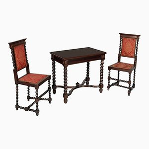19th Century Renaissance Desk & Chairs, Set of 3
