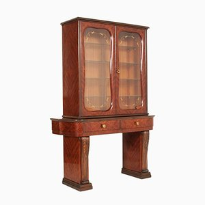 Vintage Showcase with Mahogany Inlays & Walnut Carvings