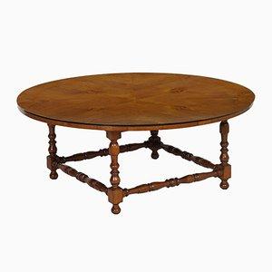 Großer runder Tisch aus Walnuss, 1930er
