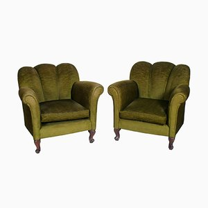 Art Deco Armchairs in Green Velvet, 1930s, Set of 2