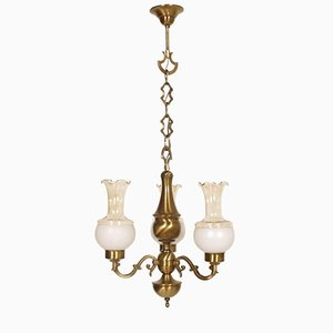 Baroque Burnished Brass Chandelier with Three Lights
