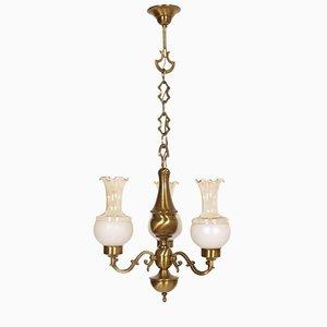 Lampadario barocco in ottone brunito a tre luci