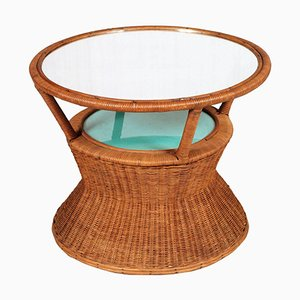 Tavolino da caffè in bambù e rafia con specchio, anni '50