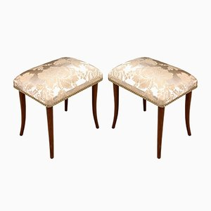 Art Deco Walnut Footrests, Set of 2