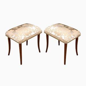 Art Deco Walnut Footrests, Set of 2