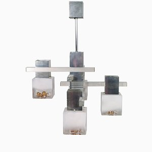 Cubic Chandelier in Chromed Metal by Gaetano Sciolari for Mazzega, 1970s
