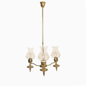 Art Deco Golden Brass and Murano Glass Chandelier with Three Lights, 1930s