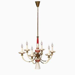 Lampadario Art Deco in porcellana dorata ed ottone