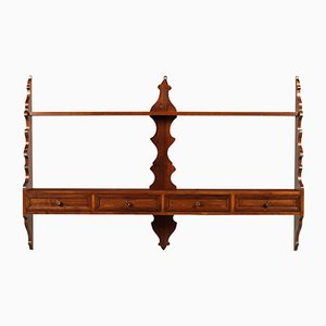 Mid-Century Tyrolean Hanging Plate Rack in Walnut