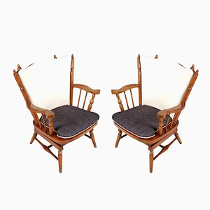 Chiavari Chestnut Rocking Chairs with Springs, 1930s, Set of 2