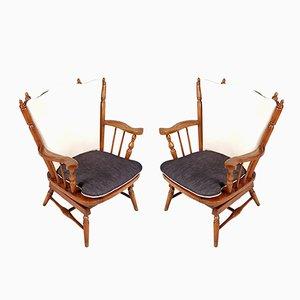 Sedie a dondolo Chiavari in castagno con molle, anni '30, set di 2
