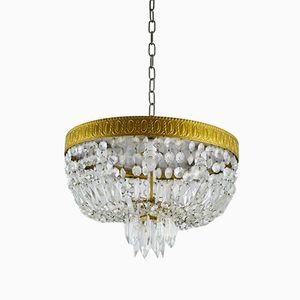 Italian Crystal Ceiling Lamp, 1950s