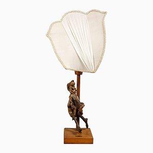 Lampada da tavolo con scultura in legno di ulivo, anni '50