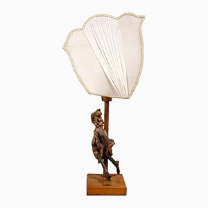 Table Lamp with Olivewood Sculpture, 1950s
