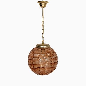 Brass & Amber Glass Ceiling Lamp from Doria Leuchten, 1960s