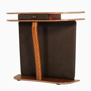 Mesa consola Mid-Century de cerezo y cuero marrón