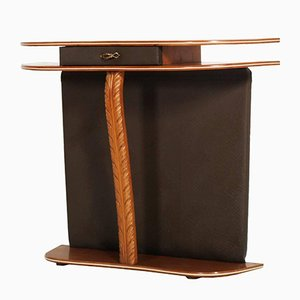 Mid-Century Cherry Wood and Brown Leather Console Table