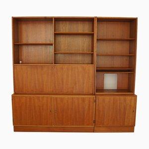 Muebles de pared daneses de teca de Hundevad & Co., años 60. Juego de 2