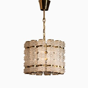 Brass Pendant Light with Twelve Orrefors Crystal Cylinders from Tyringe Konsthantverk