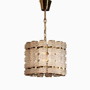 Lampe à Suspension en Laiton avec Douze Cylindres en Cristal Orrefors de Tyringe Konsthantverk