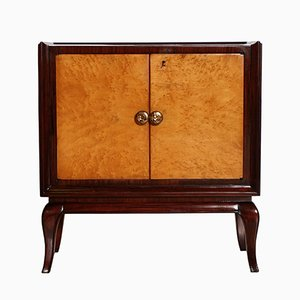 Art Deco Mahogany, Burl Elm, Mirror & Glass Dry Bar Cabinet