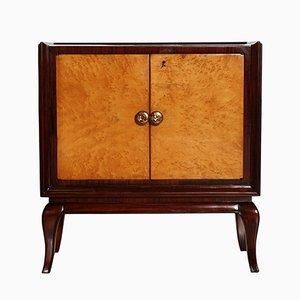 Mueble bar Art Déco de caoba, madera nudosa de olmo, espejo y vidrio