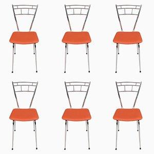 Verchromte Stahl & Leder Beistellstühle, 1950er, 6er Set