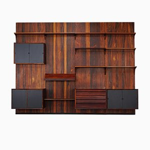 Large Modular Rosewood Wall Unit by Poul Cadovius for Cado, 1960s