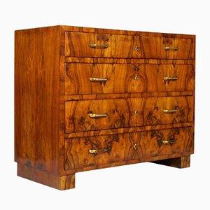 Cajonera Art Déco de madera nudosa y nogal