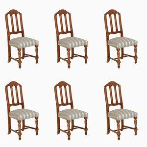 Italian Walnut Chairs, 1920s, Set of 6