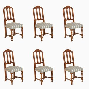 Italian Walnut Chairs, 1940s, Set of 6