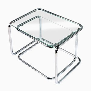 Tables Gigognes Mid-Century Modernes en Cristal et Chrome, Set de 2