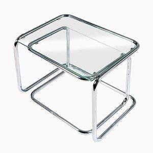 Tavoli Mid-Century ad incastro in metallo cromato e cristallo, set di 2