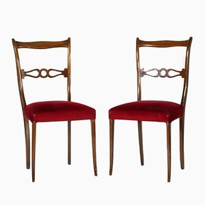 Vintage Lacquered Mahogany Side Chairs, Set of 2