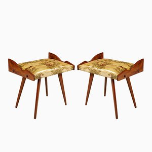 Walnut Stools with Plasticized and Printed Fabric by Ico Parisi, 1950s, Set of 2