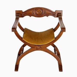 Mid-Century Italian Walnut Savonarola Chair