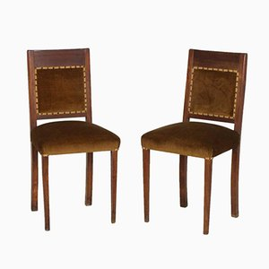 Art Deco Italian Walnut & Velvet Side Chairs, Set of 2