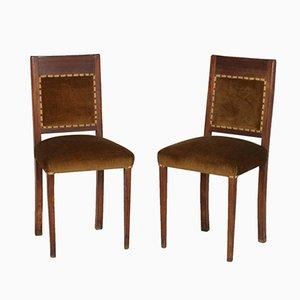 Chaises d'Appoint Art Déco en Noyer et Velours, Set de 2
