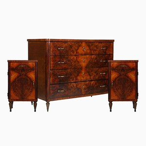 Art Deco Italian Commode & Nightstands in Burl Walnut from La Permanente Mobili Cantù, 1920s