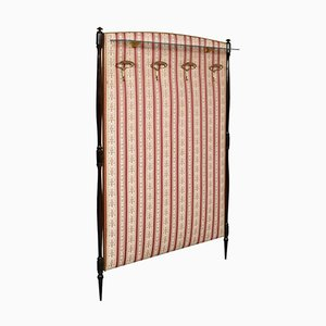 Lacquered Walnut & Fabric Hanging Coat Rack, 1950s