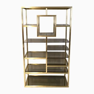 Mid-Century Polished Brass Shelf